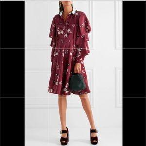 Valentino Ruffled floral-print silk crepe de chine